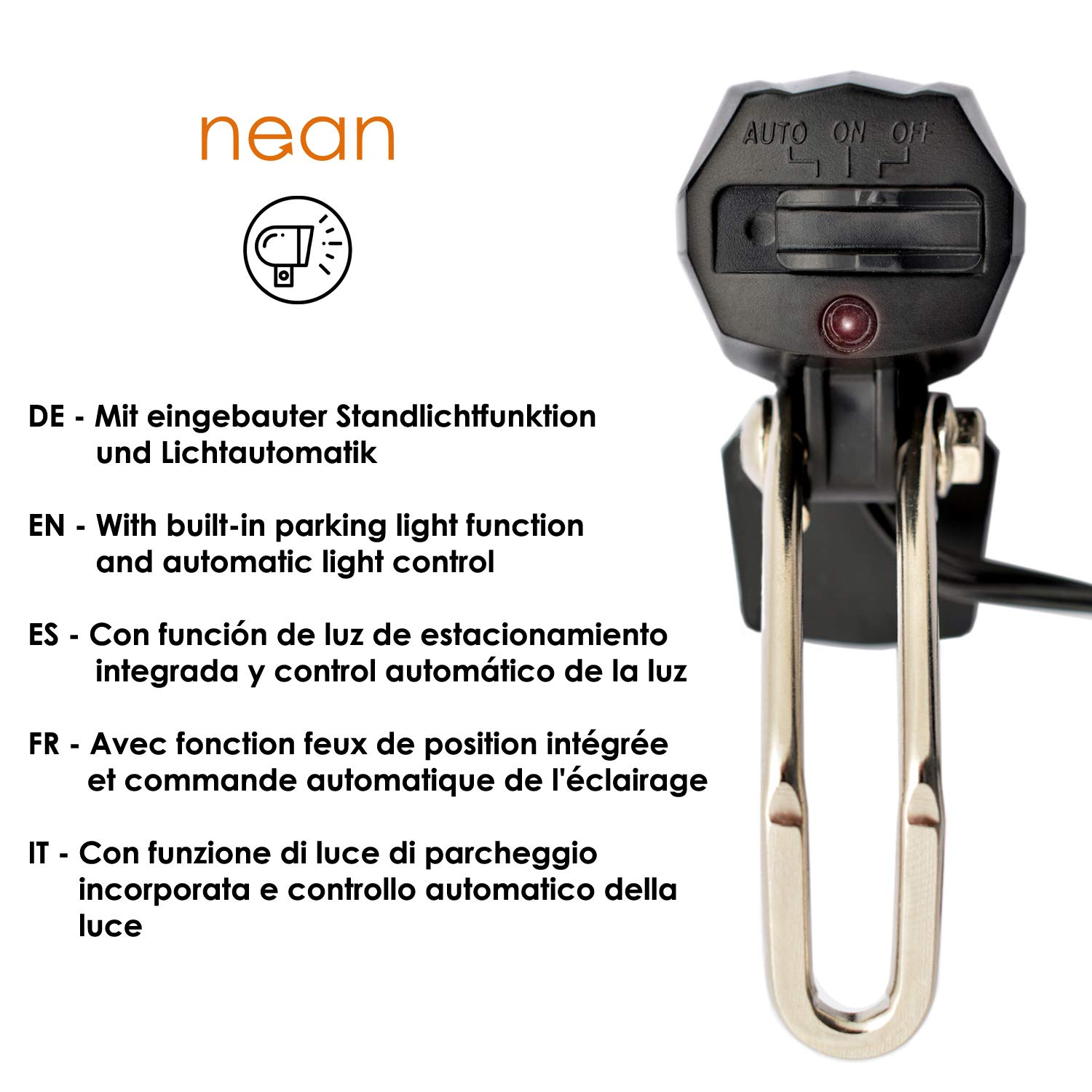 parking light NEAN bicycle dynamo front light with automatic light 30 lux reflector and StVZO approval
