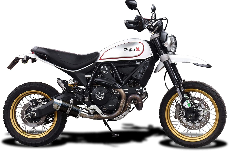 Delkevic Aftermarket Slip On compatible with Ducati Scrambler Desert Sled Mini 8 Carbon Fiber Round Muffler 17-19