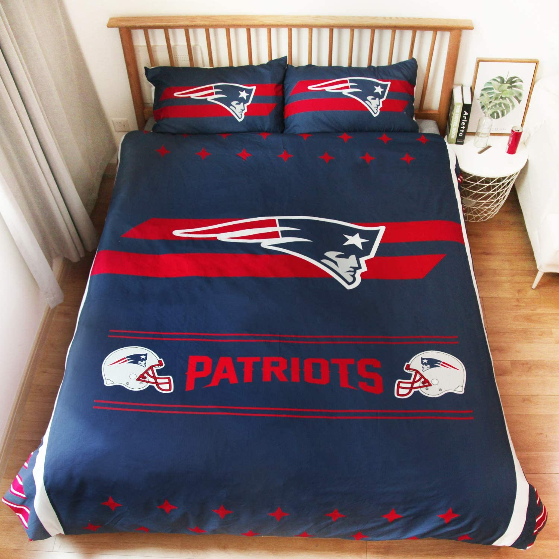 LEMOISTARS New England Patriots 3pcs Queen Size Bedding Duvet Cover Set,1 Duvet Cover and 2 Pillowcases