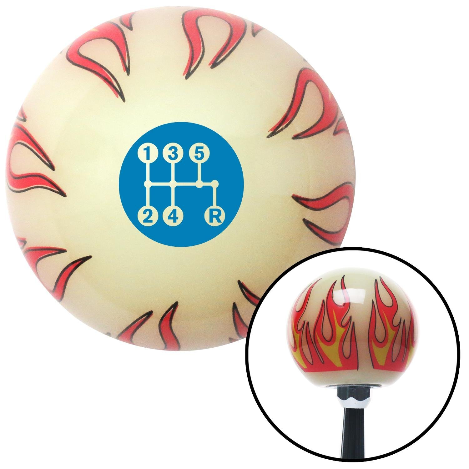 American Shifter 293510 Shift Knob Blue 5 Speed Shift Pattern - Dots 15 Ivory Flame with M16 x 1.5 Insert