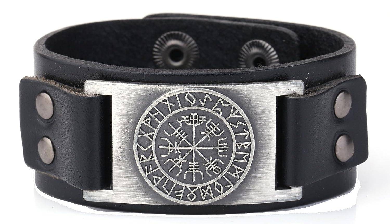 Adjustable 2 Options Snaps Button Wristband Leather Bracelets Scandinavian Viking Brass Charms Jewelry Black) YI WU KE JI