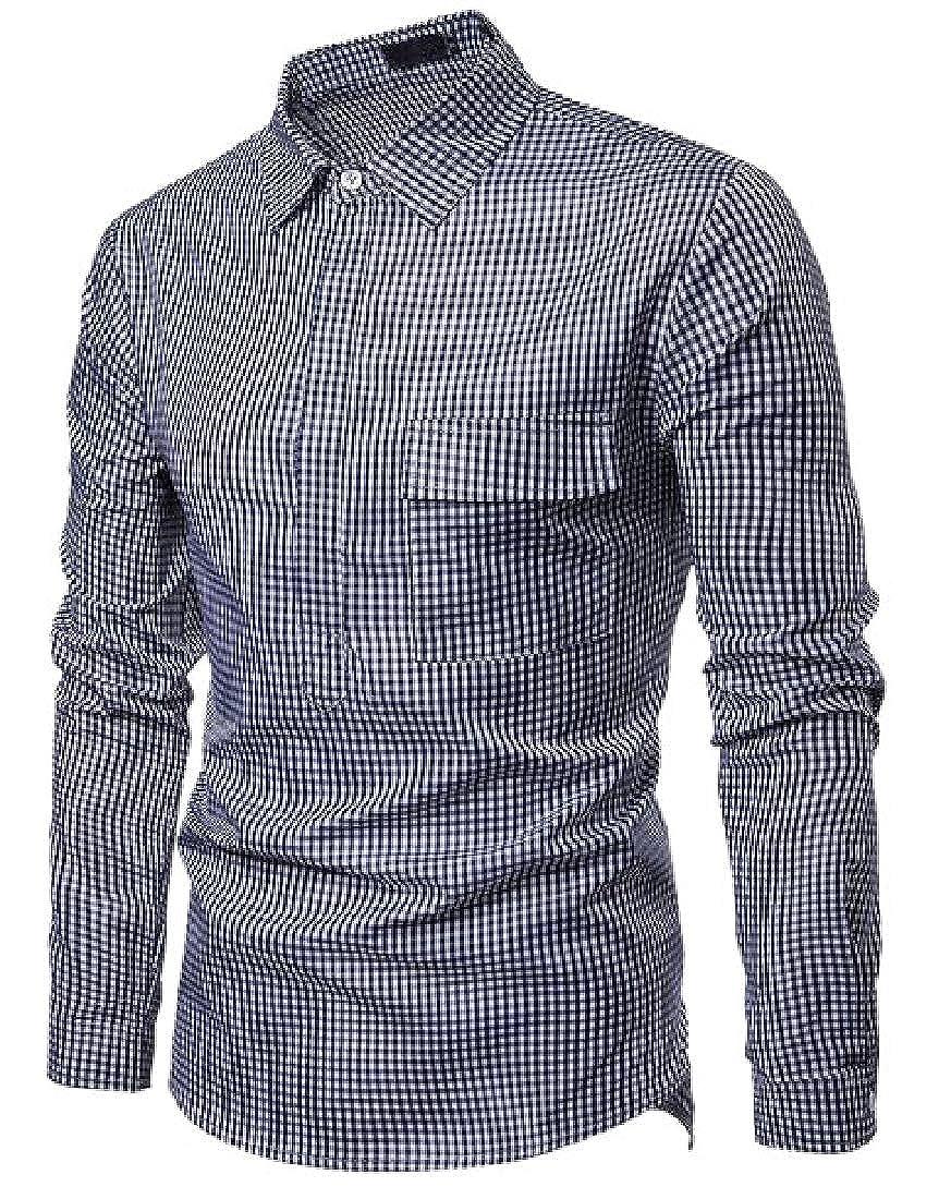 M/&S/&W Mens Slim Fit Check Plaid Dress Shirt Long Sleeve Button Down Shirt