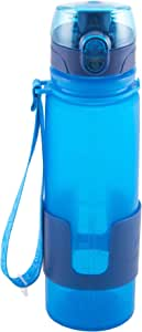 Design for Living 5141337 Silicone Water Bottle with Flip Top Lid and Strap, 16-Ounce, Blue