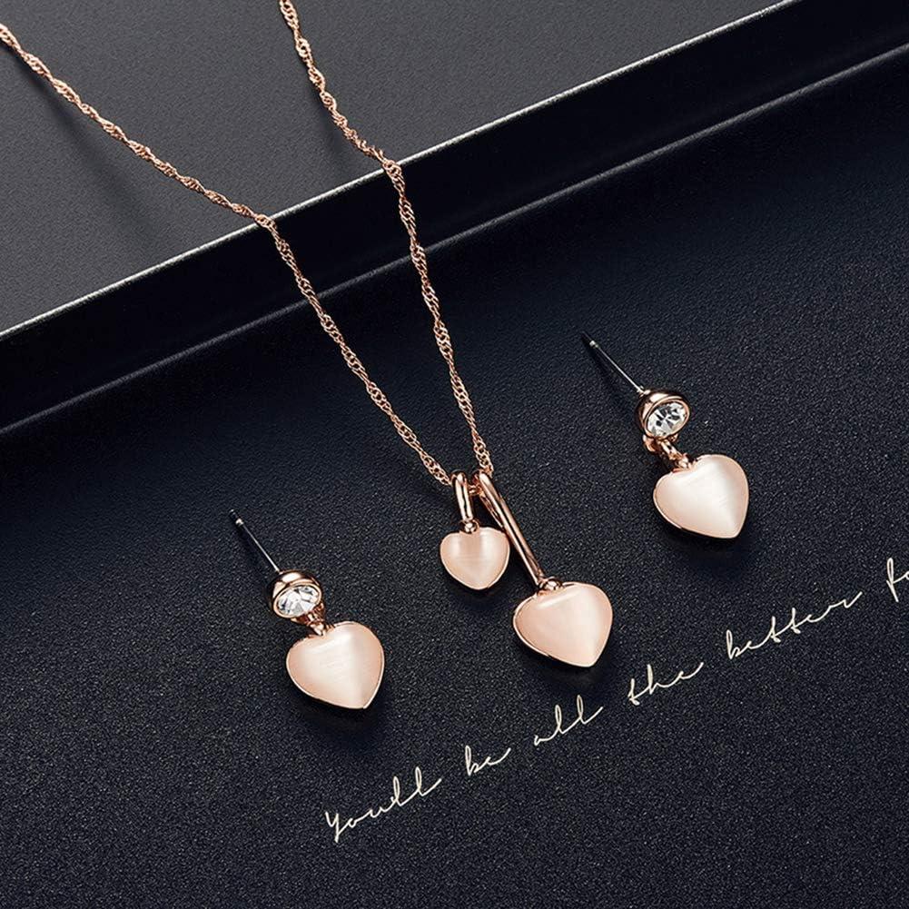 pengyu Women Water Drop Shape Rhinestone Pendant Ear Stud Earrings Necklace Jewelry Set Golden