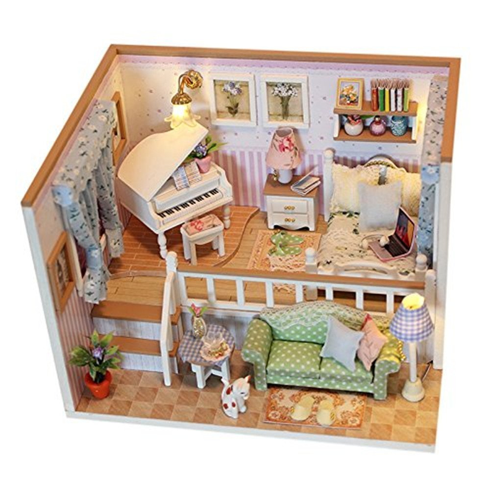 Flever Dollhouse Miniature DIY House Kit Creative Room Furniture Romantic Valentine's Gift(Because Meeting You) Flever®