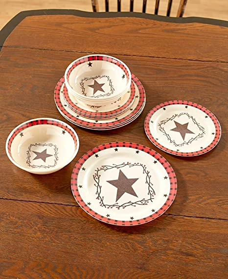 The Lakeside Collection 12-Pc. Dinnerware Set-Country Star & Amazon.com | The Lakeside Collection 12-Pc. Dinnerware Set-Country ...