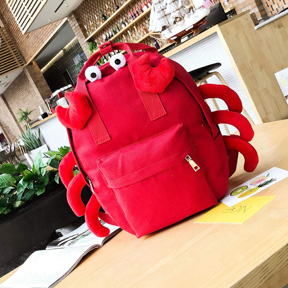 Crab red [large size] CYCY Bag female Korean version ulzzang student campus backpack cartoon cute monster cute canvas backpack single eye frog [large]