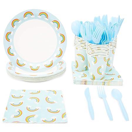 Juego de vajilla desechable – sirve 24 – Suministros de fiesta arcoíris para cumpleaños de niños, baby showers – Incluye cuchillos de plástico, ...
