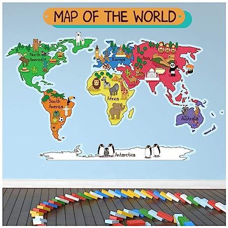 World Map Wall Decal Kids.Azutura Animal World Map Wall Sticker World Map Wall Decal Kids