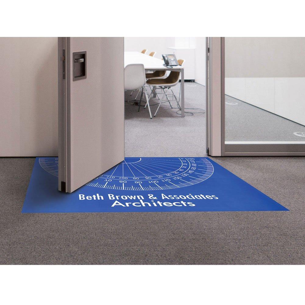 Personalized Protractor Floor or Door Mat - Customize 2 Lines of Text - 66'' x 46'' - Style B Door Opens Outward