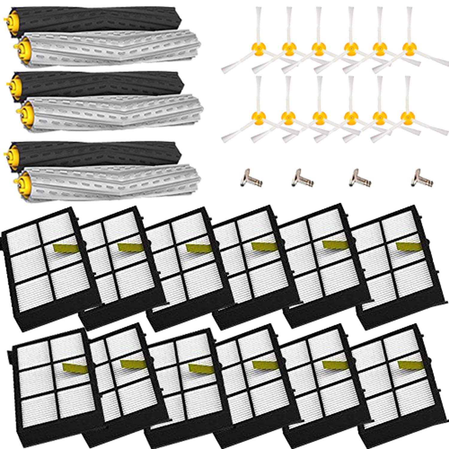 Amyehouse Tangle-Free Debris Extractor Set and Filter 3 Arm Brush for iRobot Roomba 800 900 Series 805 860 870 871 880 890 960 980 Vacuum Replacement Parts