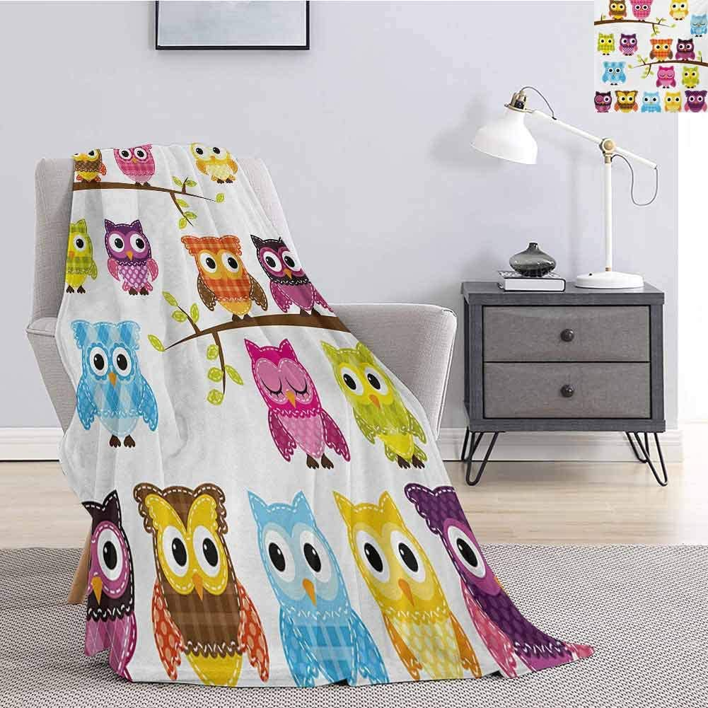 Tr.G Nursery Comfortable Large Blanket Patchwork Quilt Style Owls on Branches Animals with Green Leaves Bird Mascots Print Microfiber Blanket Bed Sofa or Travel W55 x L55 Inch Multicolor
