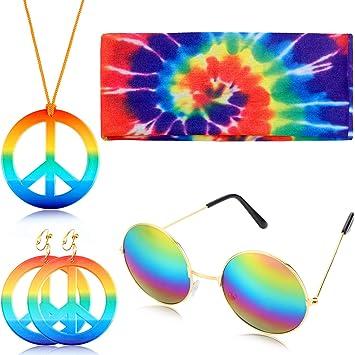 Geyoga El Conjunto de Disfraces de 4 Piezas de Hippie Incluye el ...