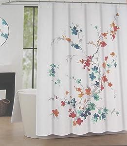 Tahari Home Luxurious Fabric Shower Curtain- Printemps 2 Turquoise, Orange and Gray on White