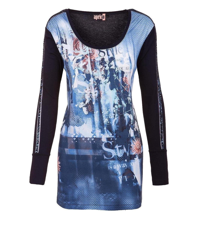 Aprico Shirt Damen Blau Langarm Pailletten Viskose Druck Print 40 42 44 46 48