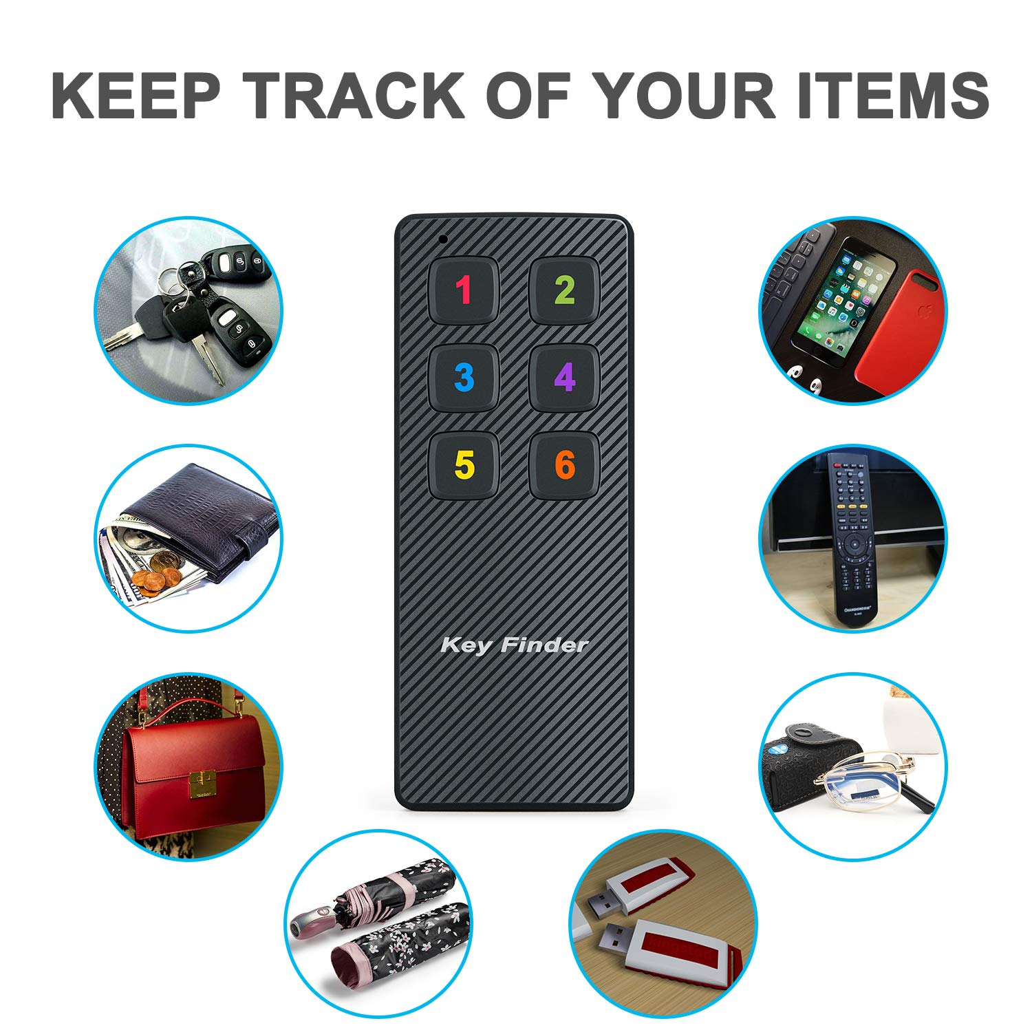 Key Finder Car Keys Tracker Ideal for Phone Locator Pet Tacker 1 Transmitter + 6 Receivers TBMax Wireless RF Item Locator Tracker with Remote Control Anti-Lost Wallet Purse Finder