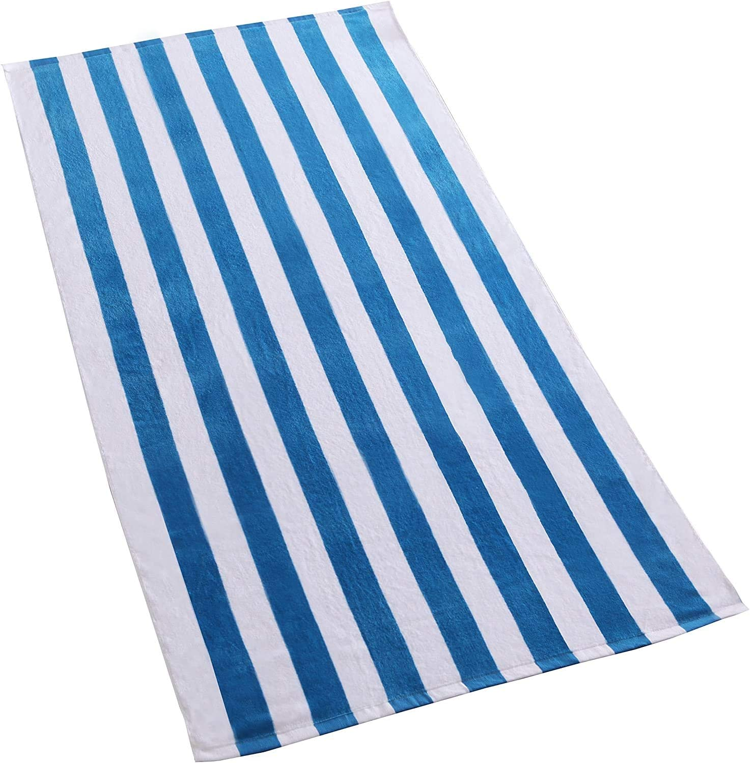 30 x 60 /—Soft Exclusivo Mezcla 2-Pack 100/% Cotton Cabana Blue Striped Beach//Pool//Bath Towel Quick Dry Lightweight Absorbent and Plush