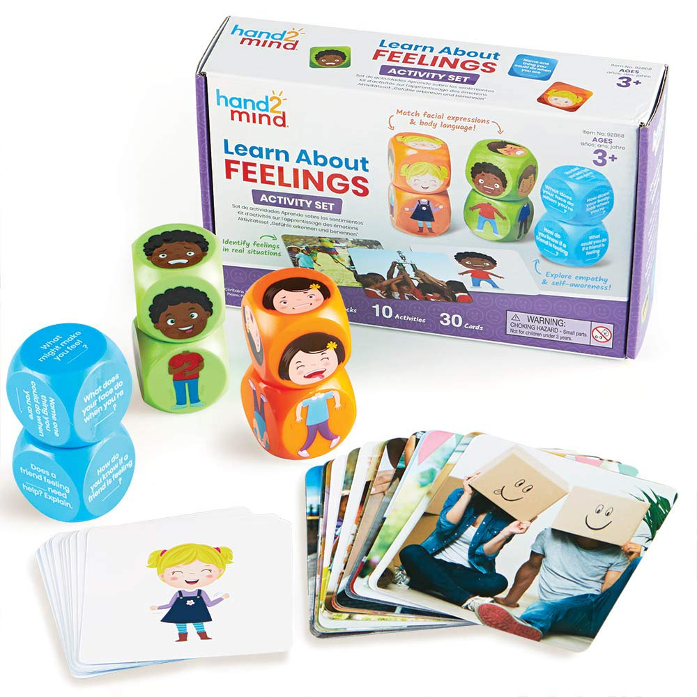 hand2mind-92868 Learn About Feelings Activity Set, 10 Activities to Help Identify Feelings, 6 Blocks with Facial Expressions and Body Language, 30 Activity Cards for Moods and Emotions