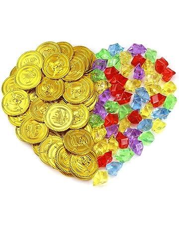 4b17f16a75 Pllieay 50 Pezzi Monete di Oro del Pirata Plastica e 50 Pezzi Gemme Pirati  Gioielli Monete