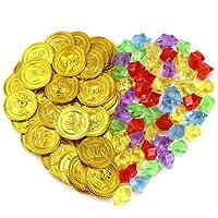 Pllieay 50 Pezzi Monete di Oro del Pirata Plastica e 50 Pezzi Gemme Pirati Gioielli Monete Del Tesoro Set Per Favore di Partito
