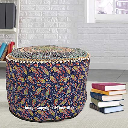 Incredible Amazon Com Navratan Handicraft 18 Huge Pouf Cover Mandala Customarchery Wood Chair Design Ideas Customarcherynet