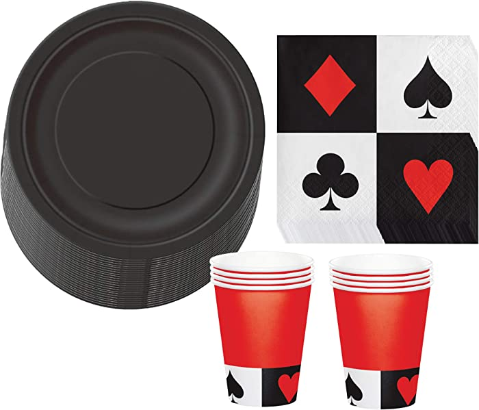 Card Party and Casino Poker Party Supplies - Black Paper Dessert Plates, Playing Card Beverage Napkins, and Matching Black and Red Cups (Serves 16)