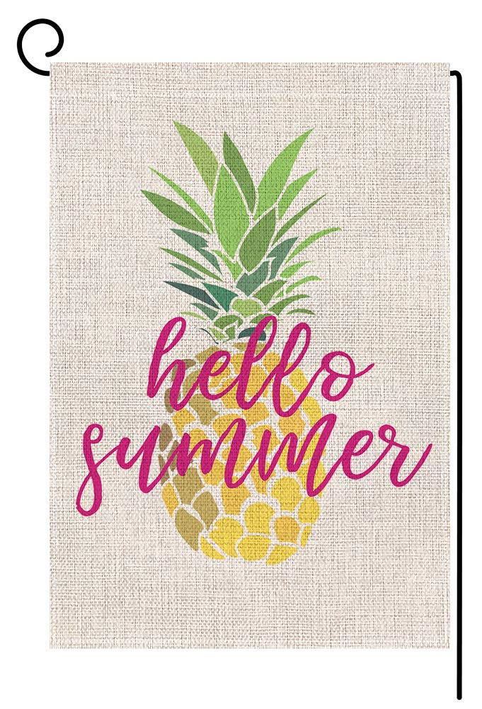 Hello Summer Pineapple Small Garden Flag Vertical Double Sided 12.5 x 18 Inch Yellow Burlap Yard Outdoor Decor