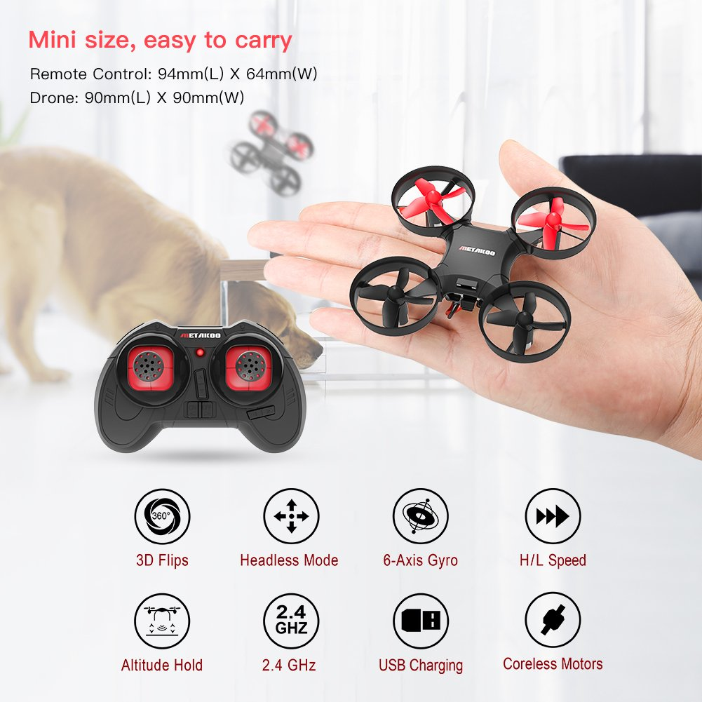 Drone, Metakoo M1 Mini Drone 2.4GHz 6-Axis Double Battery for Beginners and Kids Drone with 360°Full Protection, Altitude Hold, 3D Flips, Headless Mode, 3 Speed Modes Functions by METAKOO (Image #2)