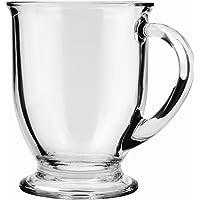 Anchor Hocking Café Glass Coffee Mugs, Clear, 16 oz (Set of 6) - 83045A
