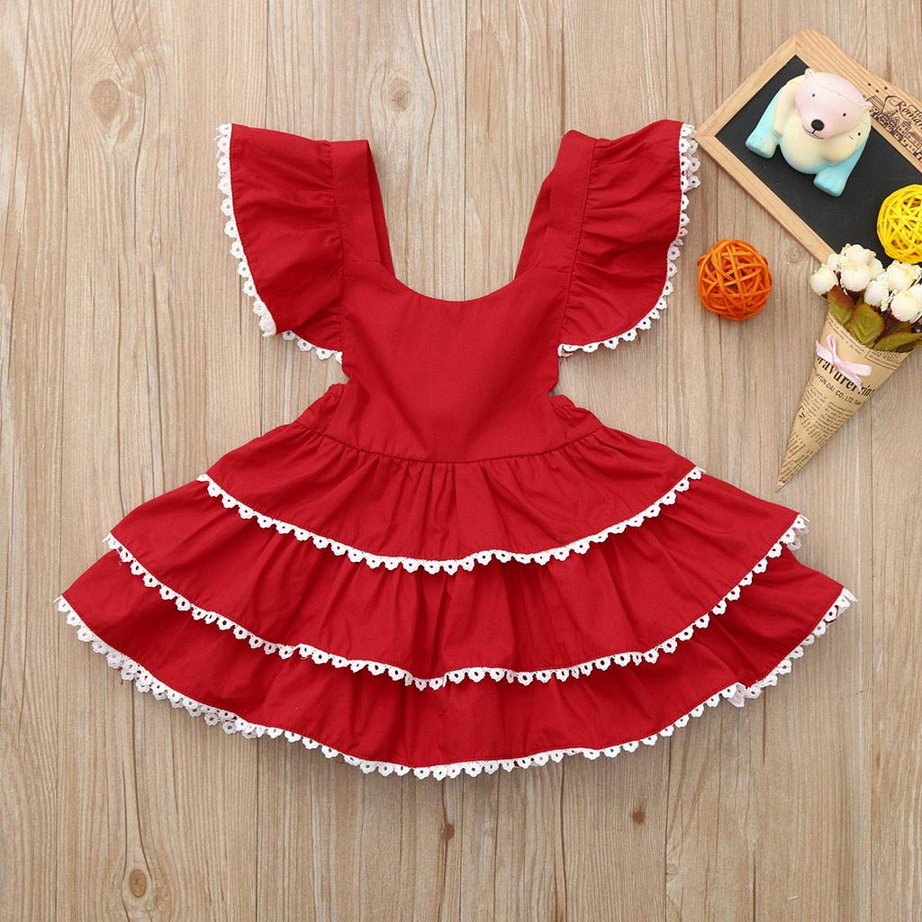 Jchen Summer Princess Girls Dress Baby Kids Little Girls Backless Fly Sleeve Lace Layered Casual Party Daily Dress TM