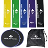 World Wonders Gliding Exercise Discs and Resistance Loop Bands Set | 2 Sliders and 5 Elastic Bands w/Carry Bag | Dual-Sided for Any Surface Type | Ideal Gym Workout Equipment for Abs, Core, and Legs