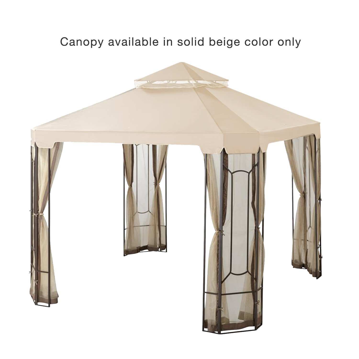 Garden Winds LCM1305B-RS Top Cover for The Cottleville Gazebo-RipLock 350 Replacement Canopy, 10 x 12 Beige