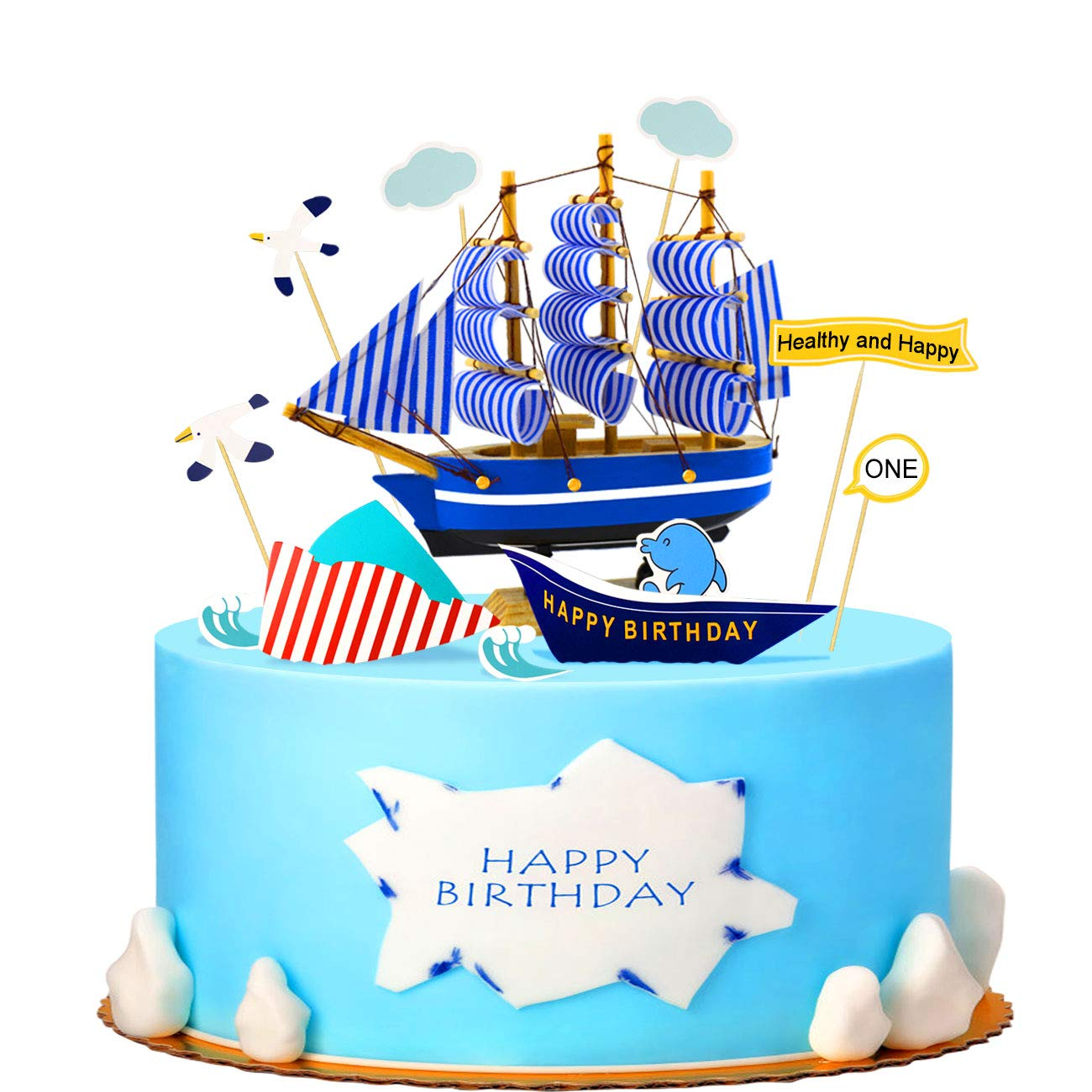 Fantastic Busoha Nautical Theme Birthday Cake Toppers Wooden Handcrafted Personalised Birthday Cards Sponlily Jamesorg