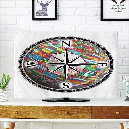 Cubierta de polvo para televisor LCD, brújula, diseño antiguo de Windrose para viajes, diseño de Jouney