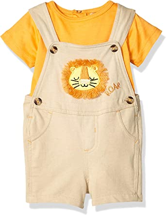 Quiltex Baby Boys 2-Piece Shortalls Set Outfit