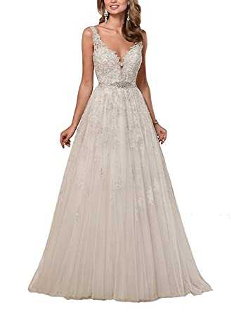 Cloverdresses V neck Backless Long Womens Lace Wedding Dress Bridal Dress Exquisite Prom Dress at Amazon Womens Clothing store: