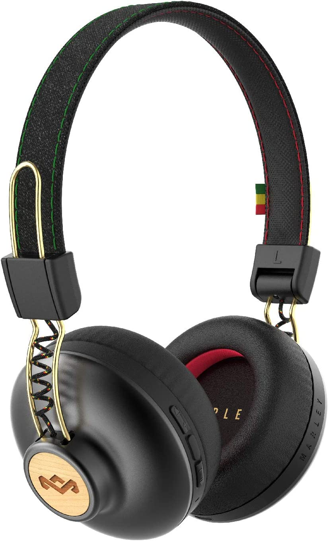 House of Marley Positive Vibration 2, Auriculares inalámbricos con Bluetooth, con micrófono, 40 mm Diver, diseño cómodo en la Oreja, Plegable, Negro y Oro