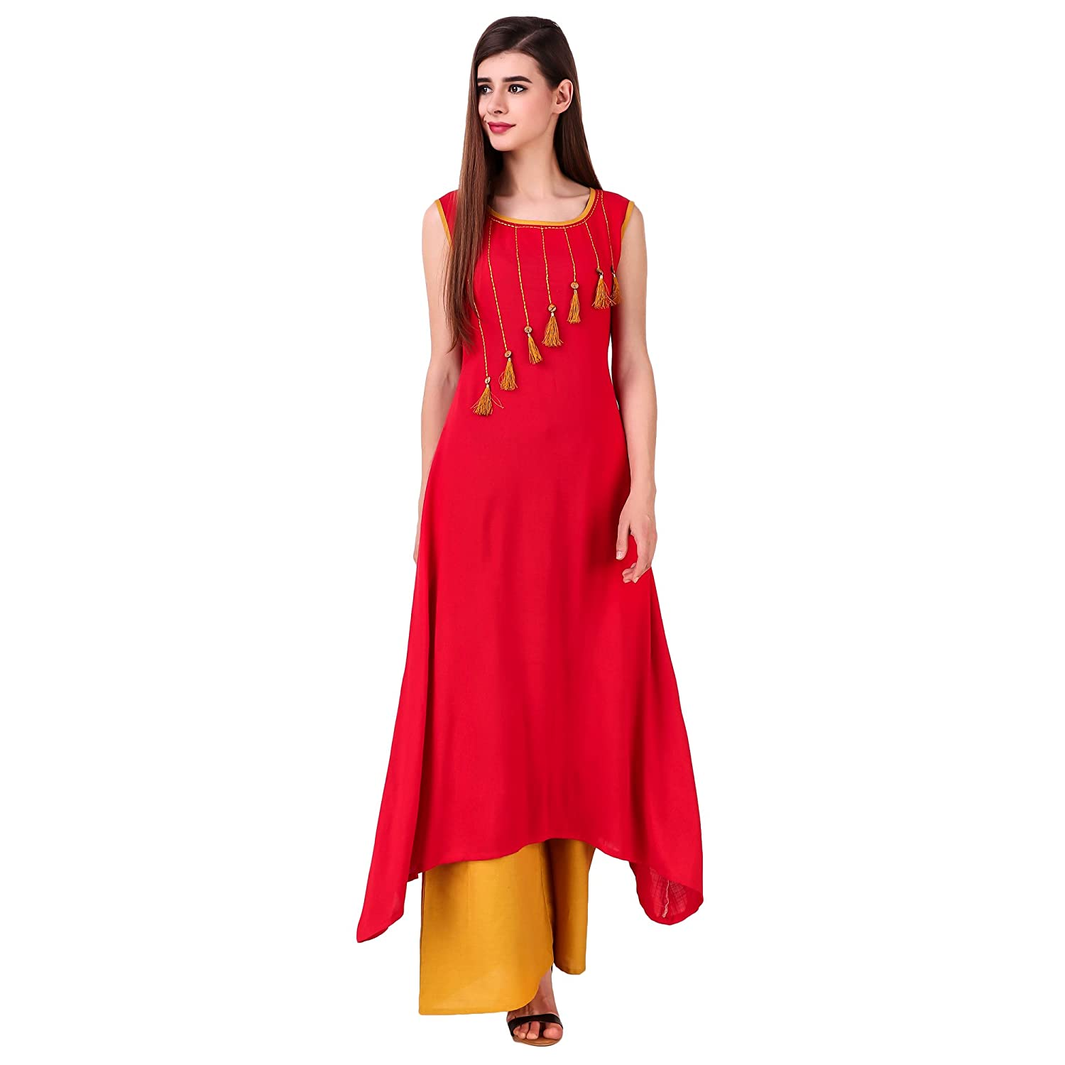 05d4ab1861 Sreshee Women s Cotton Designer Kurti with Palazzo Pants Set (Two Colour  Options)  Amazon.in  Clothing   Accessories
