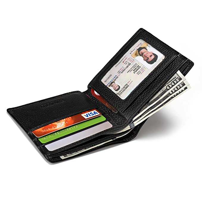 afa10c67d182 Unisex Genuine Leather Wallet Secure Credit Card Holders Case Organizer