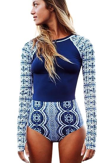 8f2e761088785 Bong Buy Womens Zip Front Long Sleeve High Waist Vintage One Piece Swimsuit  Swimwear Rash Guard