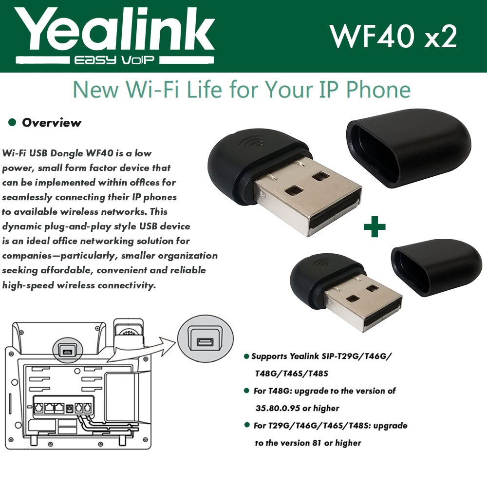 Yealink WF40 USB Dongles for Yealink SIP-T27G,T29G,T46G,T48G,T46S,T48S,T52S,T54S, PACK OF 2 DONGLES