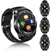 Montre Connectée Smartwatch Soutien Carte SIM Photo Synchronisation Appels SMS Notifications Smart Watch Compatible avec Samsung Xiaomi Huawei Android iPhone iOS pour Hommes Femmes Enfants (Noir)