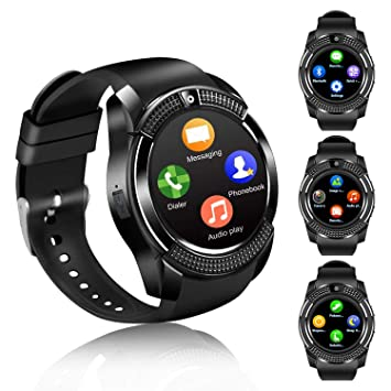 Montre Connectée Smartwatch Soutien Carte SIM Photo Synchronisation Appels SMS Notifications Smart Watch Compatible avec Samsung