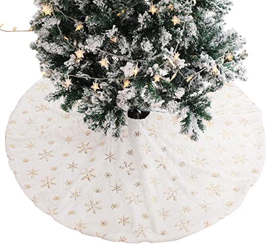 Athyior Falda del árbol de Navidad Pelusa Dorada Copo de Nieve ...