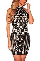 METERDE Women's Vintage Sequined Print Club Party Bodycon Dress