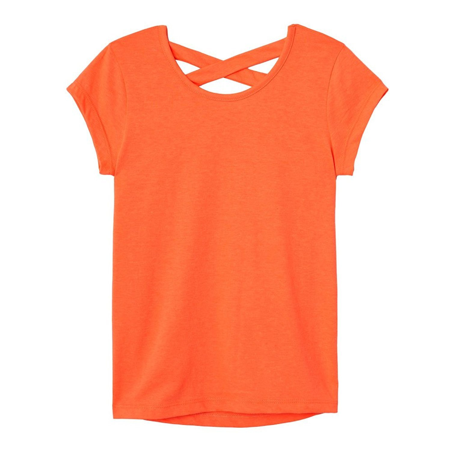French Toast Girls' Big Short Sleeve Cross Back Top, Fiery Coral, M (7/8)