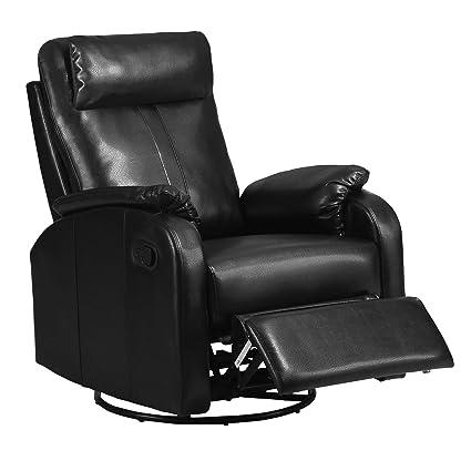 Monarch Specialties Bonded Leather Swivel Rocker Recliner, Black