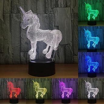 Mignon Licorne Jouet Décoratif 3d Led Nuit De Dessinée Princesse Bande Lampe Cadeau Rvb Ampoule Couleur Lumière Noël 7 Fille TPkXuZiO