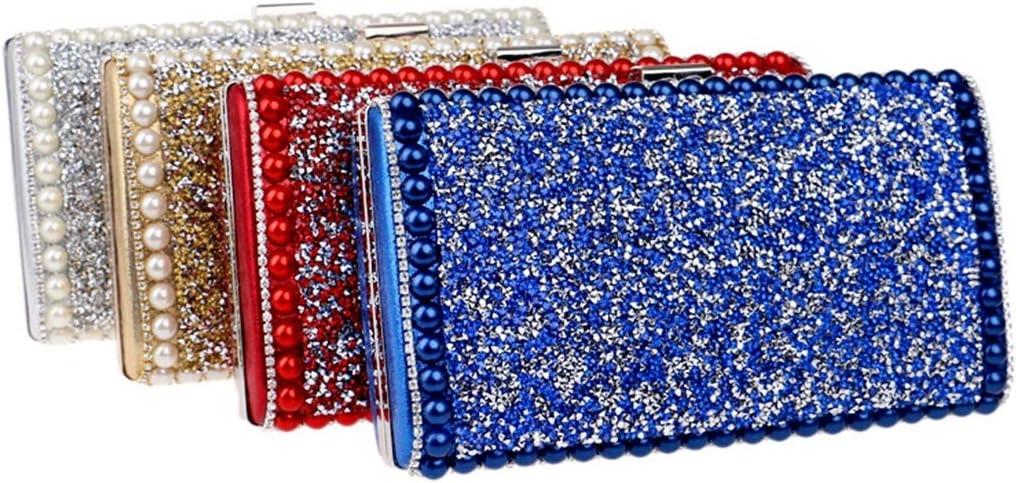 RENJUN Nuova Borsa da Sera Tempestata di Diamanti Borsa da Cerimonia for Signora Europea E Americana Pochette (Color : Silver) Gold