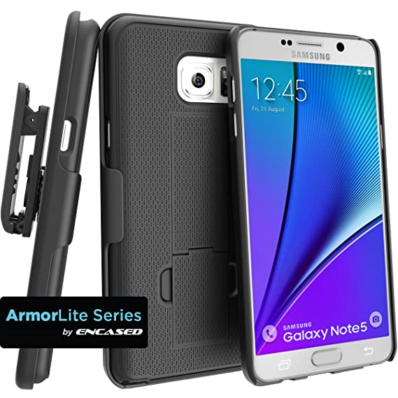 sports shoes d026c a0678 Encased Case with Belt Clip for Samsung Galaxy Note 5 Combo Case w/ClikLock  Holster - Black (Samsung Galaxy Note 5)